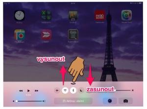 panel rychlého ovládání iPad